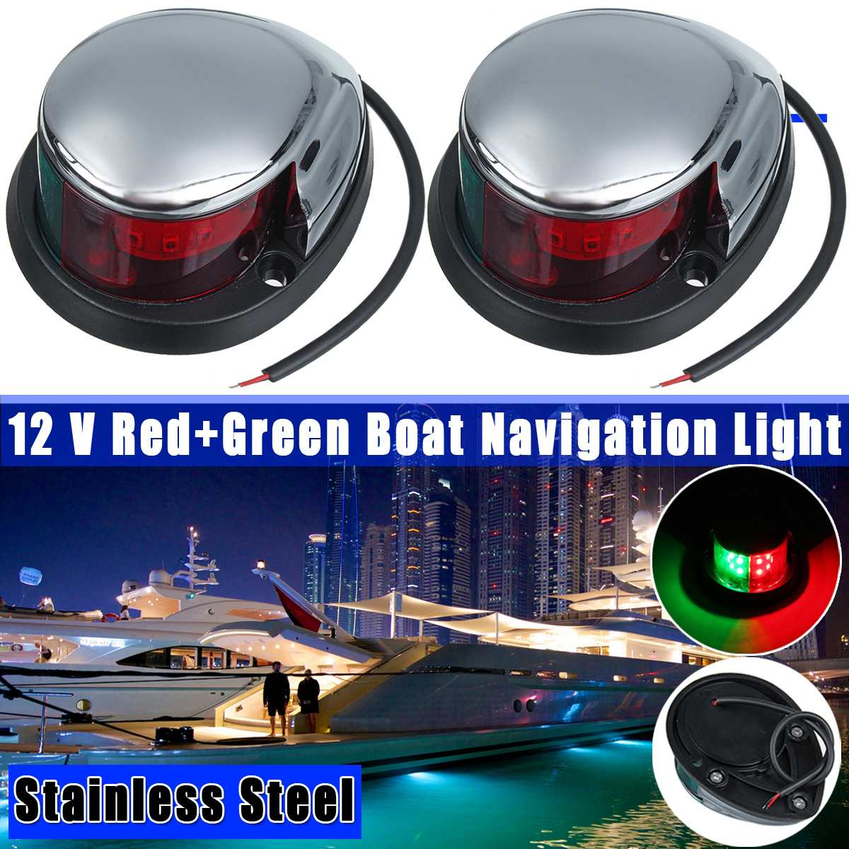 1 Pair Stainless Steel+ABS Red Green Navigation Light Boat Marine Indicator Spot Light Marine Boat Accessory Boat Yacht Sailing