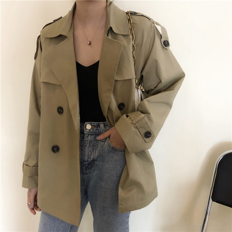HziriP Khaki Women Casual Female Thin Elegant Short Trench Coat Tops 2019 Chic Streetwear Fashion Fresh Brief All Match Outwear