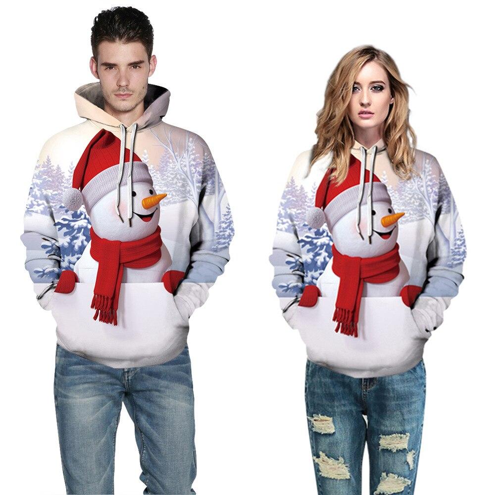 X135 Men And Women Couple Hoodie Hoodies Sweatshirt 2019 Explosion Models Autumn Winter Snowman Digital Printing