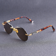 Vazrobe Rimless Sunglasses Male glass Sun Glasses for Men Na