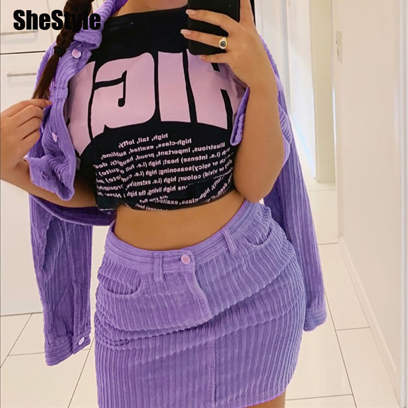 Shestyle Corduroy Purple Zipper Pockets Skirts Women Fashion High Waist Striped Sexy Sheath Thick Straight Winte Mini Skirt 2019