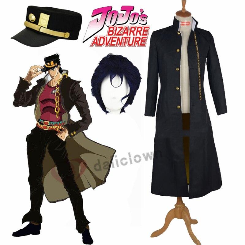 Fantasia do jojos bizarre adventure, jotaro kujo, cosplay, chapéu jaqueta, casaco preto, roupas de festa de halloween, feito sob encomenda