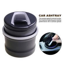 Portable Car Ashtray Auto Ashtray Blue LED Light Smokeless Ashtray Cigarette Holder and Anti-slip Rubber Bottom Car Accessories