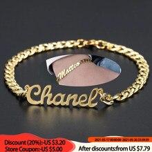 Pulsera personalizada con nombre para hombre y mujer, brazalete de cadena cubana de oro y acero inoxidable, regalo de abalorios