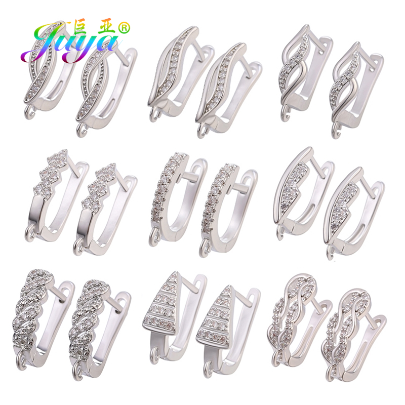 Juya DIY Schwenzy Jewelry Making Supplies Gold/Silver Basic Bail Earring Hooks Accessories For Handmade Dangle Earrings Making