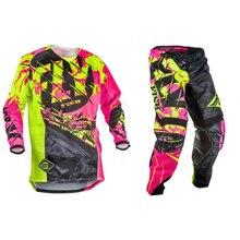 חדש טוס דגי מרוצי מוטוקרוס MX מירוץ חליפת מכנסיים & ג רזי שילובי Moto עפר אופני טרקטורונים הילוך סט אדום/שחור/צהוב