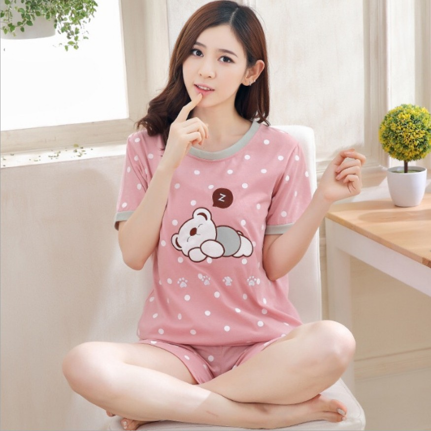 Summer Short-sleeved Women's Pajamas Women's Homewear Set Korean-style Crew Neck Women's Thin Pajamas Milk Si Pi