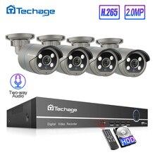 H.265 8CH 1080P HDMI POE NVR CCTV מערכת סט שתי דרך אודיו 2MP AI IP מצלמה חיצוני עמיד למים וידאו אבטחת מעקב