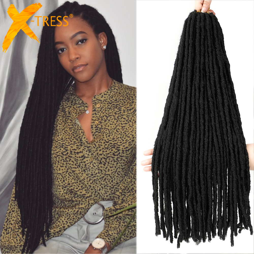 Synthetic Crochet Braiding Hair Extensions Dreadlocks Ombre Brown Colored X-TRESS Soft Straight Faux Locs Braids Hair For Women