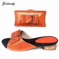 New Italian Ladies Handmade Slipper Shoes And Bag Set African PU With Stone Pumps Shoes And Matching Purse Set For Party