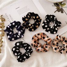 Polka Dot Scrunchies Leopard Printing Velvet Scrunchies Stretch Ponytail Holders Hair Ties Snake Printing(China)