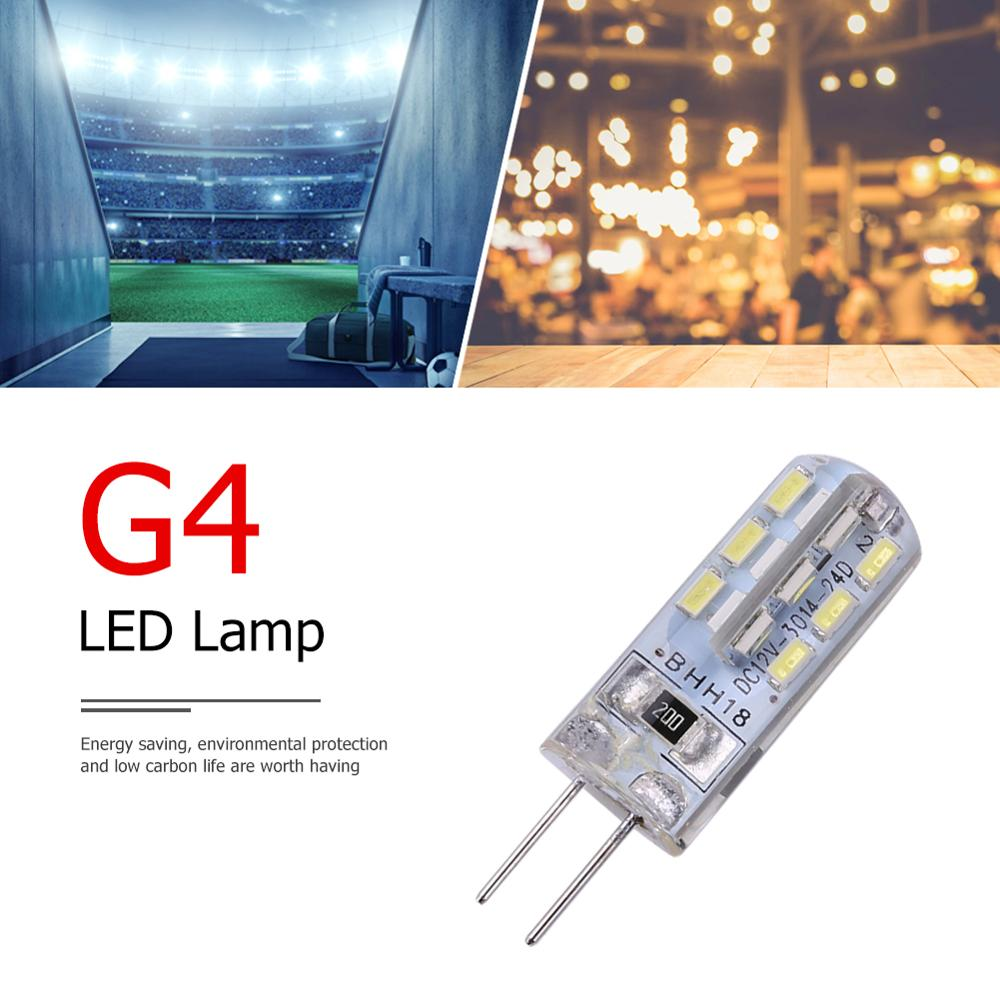 2W G4 Halogen Lamp 12V Warm White 360 Beam JC Clear Halogen 24 SMD3014 110LM White LED Lamp Silicone Corn Bulb B Household Light