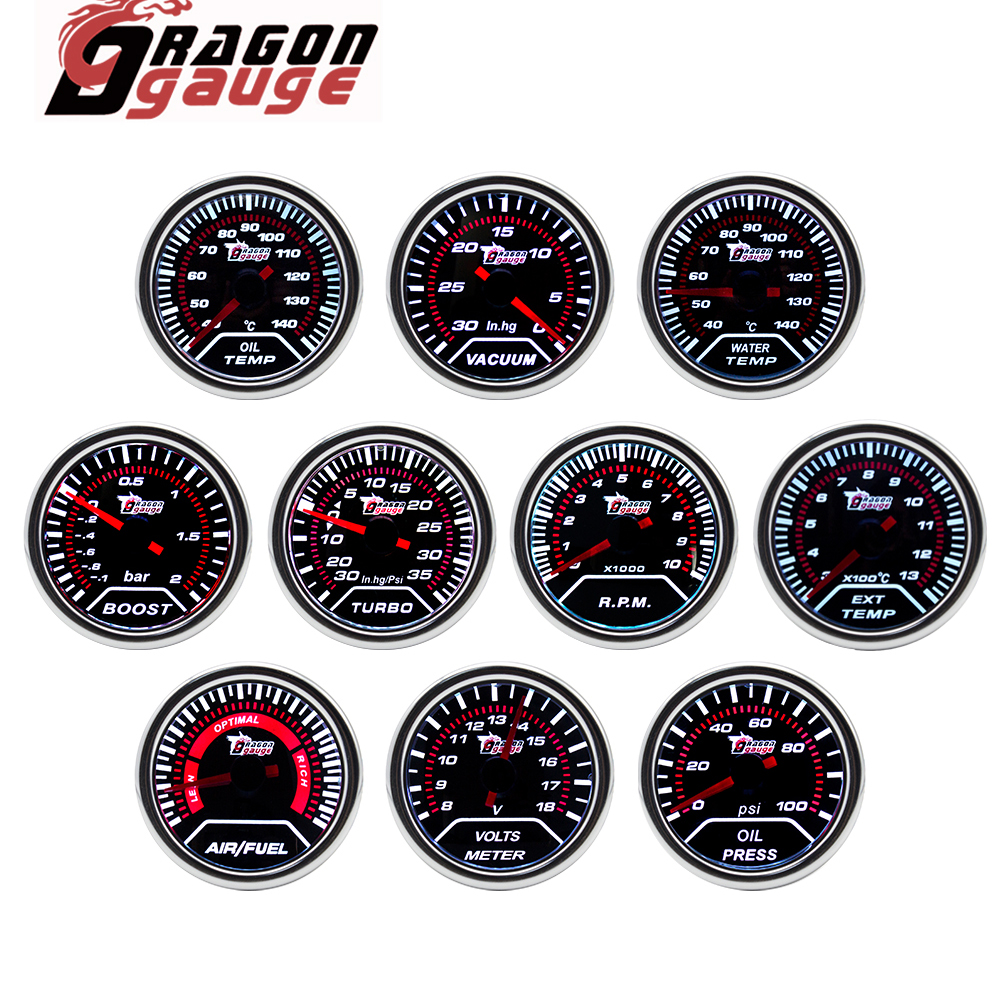 「DRAGON」 52MM Water Temp Oil Temp Oil Press Voltmeter Vacuum Tachometer RPM Boost Gauge Air Fuel Ratio EGT Gauge for 12 Volt Car