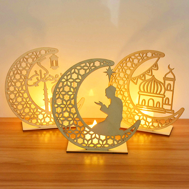 EID Mubarak Wooden Pendant with LED Candles Light Ramadan Decorations For Home Islamic Muslim Party Eid Decor Kareem Ramadan 1
