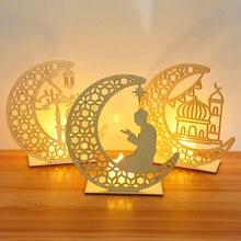 Pendentif en bois EID Mubarak avec lumière, décorations pour la maison du Ramadan, décor de fête musulmane islamique Eid Kareem