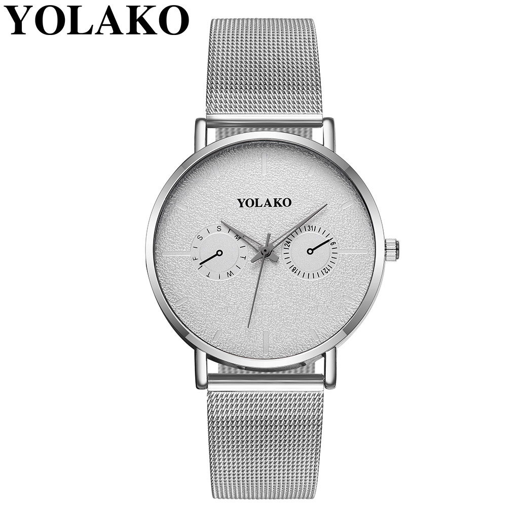YOLAKO Brand Couple Watches Fashion Ultra-thin Mesh Belt Watch Women Men Casual Lover's Watch Quartz Watches pareja hombre
