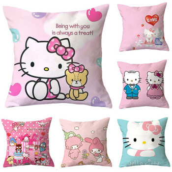100pcs lot 35cm 14 kawaii smiley emoji plush pillow with zipper only skin without pp cotton soft cute toys cushion covers 098 45cm Hot Sale Hello Kitty Cute Kawaii KT Cat Anime Plush Stuffed Cushion Soft Pillow With Contains Core Kids Christmas Gifts