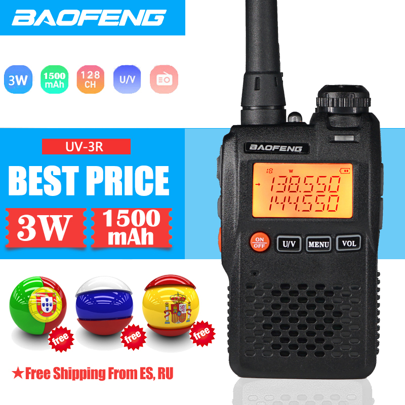 Baofeng Walkie Talkie UV-3R 136-174/ 400-470MHz Portable CB Radio UV 3R Plus Mini Dual Band Ham Radio For Outdoor Camping