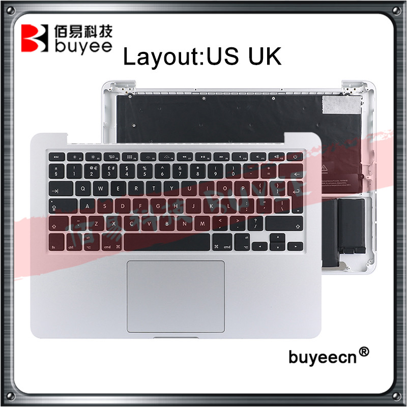 Original New A1502 Topcase US UK keyboard Backlight Trackpad Battery For MacBook Retina Pro 13.3 2015 A1502 laptop Top case image