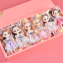 1 Box of 6 Pieces/each Set of BJD 16 Cm Doll with 13 Movable Joints Fashion Dress Princess Girl Toy Decoration Birthday Gift Box