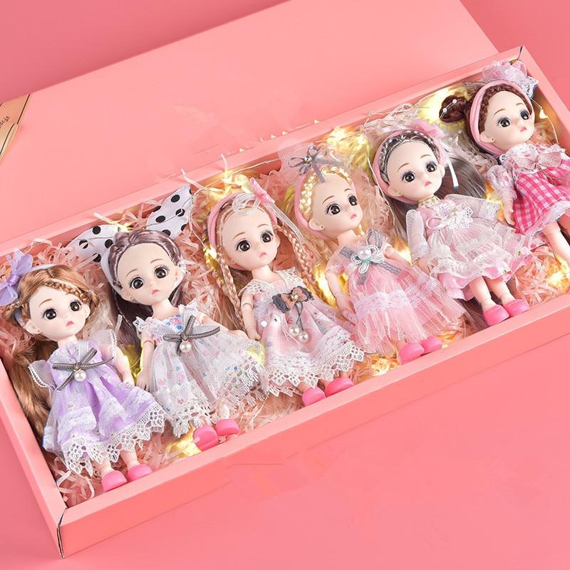 1 caja de 6 piezas/cada juego de muñeca BJD de 16 Cm con 13 articulaciones móviles vestido de moda princesa niña juguete decoración caja de regalo para cumpleaños|Muñecas|   - AliExpress