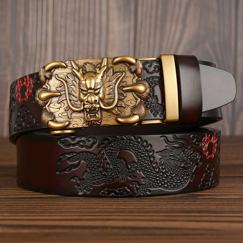 Cinturón de hombre de piel auténtica, nuevo Cinturón de piel de vaca de calidad, hecho a mano, cinturones de hombre con diseño de dragón chino