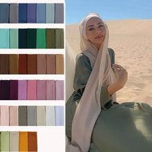 Boa costura ponto liso de alta qualidade premium pesado chiffon hijab cachecol malaio feminino cachecóis hijabs xale longo
