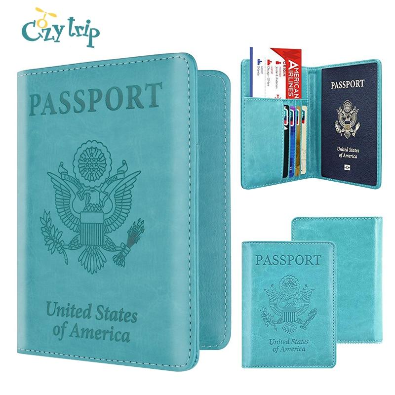 United States Of America Passport Holder RFID Blocking Leather Passport Wallet ID Card Case Travel Accessories For Women Men