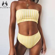 PLAVKY 2020 Ретро стиль сексуальный желтый в полоску без бретелек бандо бикини с высокой талией купальник для женщин бикиниbikinis womenbikini bikiniretro pink  АлиЭкспресс