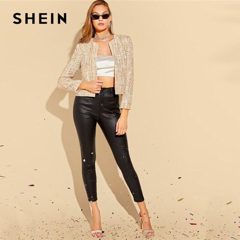 Image 5 - SHEIN Khaki Open Front Tweed Elegant Spring Jacket Coat Women  Clothing 2019 Autumn Fashion Long Sleeve Ladies Party JacketsJackets