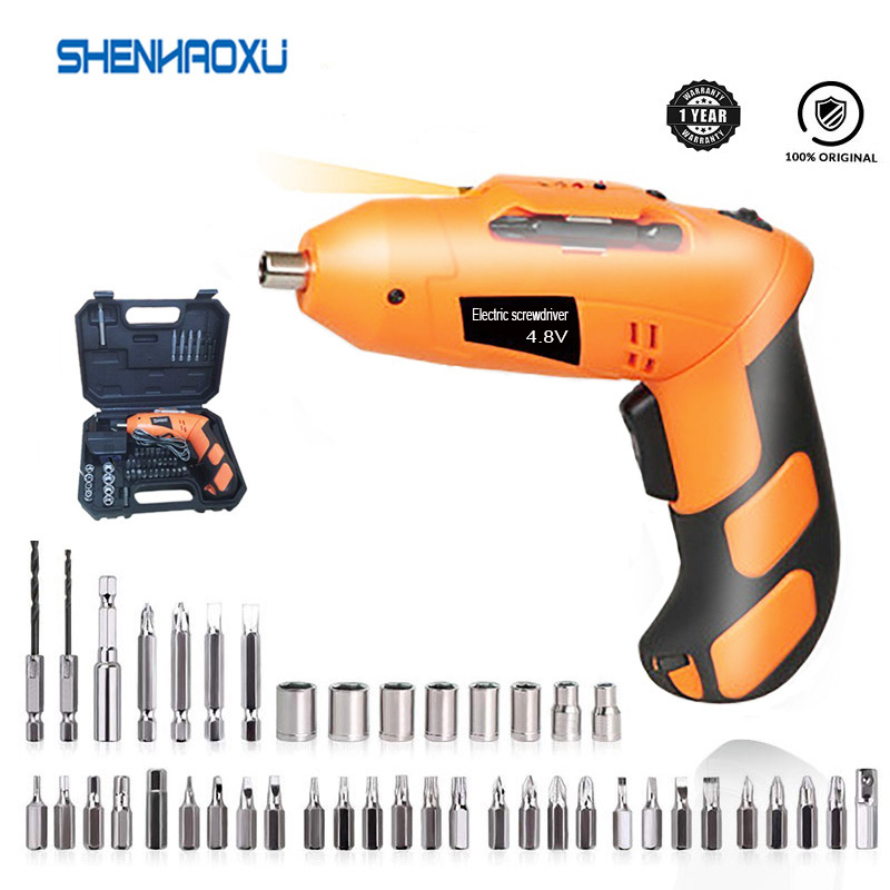 4 8V MINI Electric Screwdriver With Chargeable Battery Cordless Drill Home DIY Power Tools LED Working Light With 43 Bits