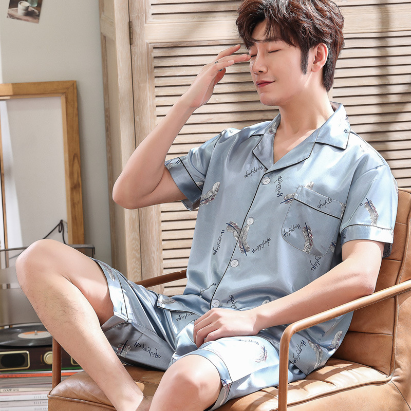 Thoshine Brand Spring Summer Autumn Men Satin Silk Pajamas Sets of T-shirt & Shorts Print Male Pijama Sleepwear Buttons Closure