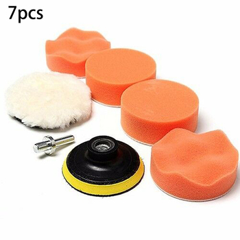 7PCS 4Inch Sponge Polishing Waxing Buffing Pads Compound-Auto Car Drill Adapter  Styling Accessories