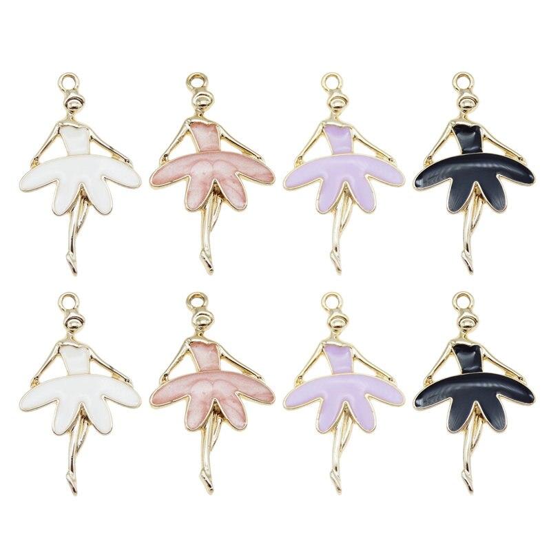 Julie wang 4 pçs esmalte dança menina encantos liga de zinco ballet menina ouro tom pingente pulseira jóias fazendo acessório