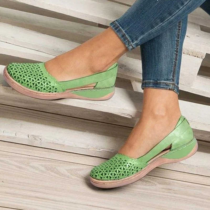 Giày Xăng Đan Nữ Nữ Trơn Trượt Trên Bãi Người Phụ Nữ Rỗng Ra Giày Nữ PU Vintage 2020 Nữ Giày Thoải Mái Plus kích Thước 43