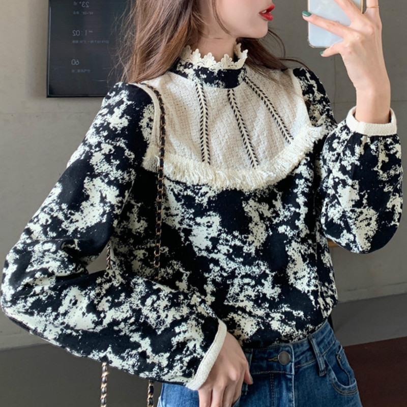 Ezgaga Floral Printed Women Shirts French Style Lace Patchwork Tassel Vintage Tender Long Sleeve Elegant Blouse Ladies Blusas 4
