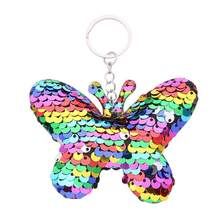 Key Chains Colorful Cute Butterfly Sequin Glitter Key Chains Pendant Keychain Key Ring Holder Bag Hanging Decors sleutelhanger l(China)