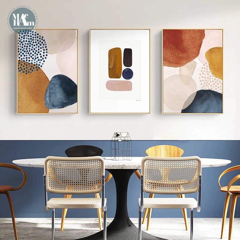 Абстрактных геометрических линия Morandi orange акварель постер на стену принт Скандинавская Картина на холсте искусство фотографии гостиной домашний декор