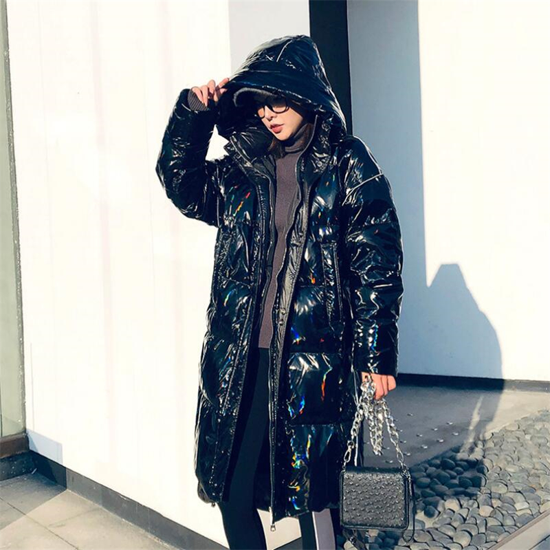 Winter new down jacket women Colorful black long hooded down jacket loose clothing outerwear quality women Bright thick Coat