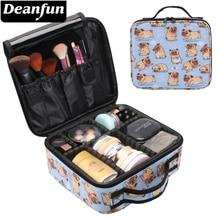 Deanfun Makeup Case Cute Pug Flower Water Resistant Heart Adjustable Dividers Cosmetic Bag Train Storage  16012