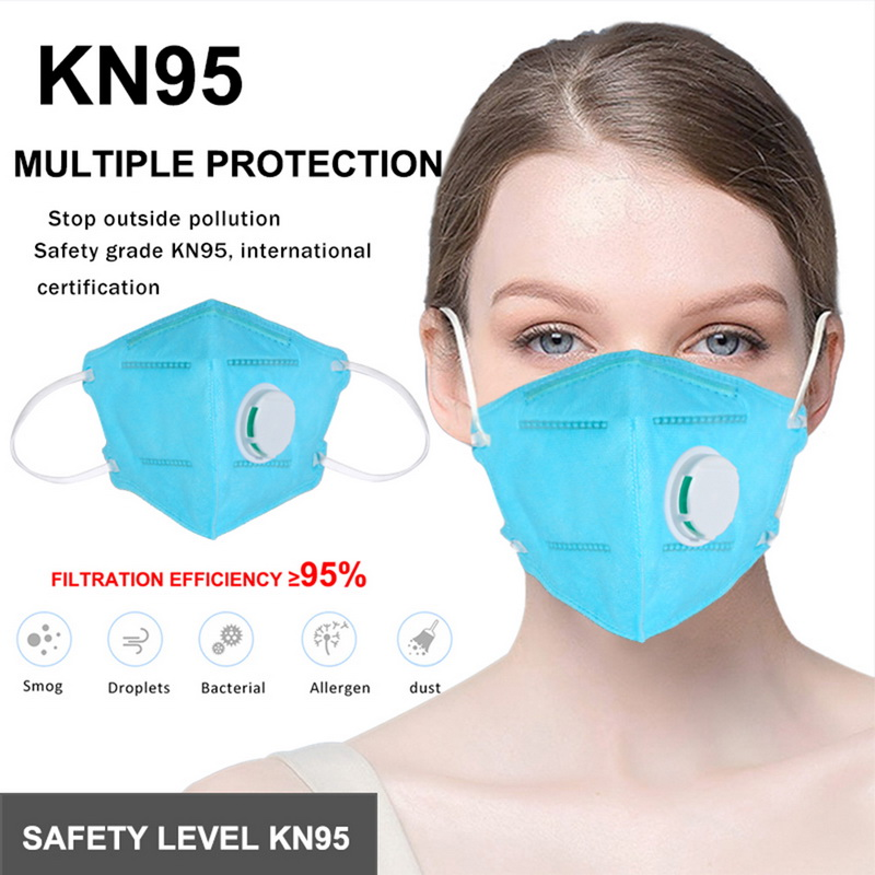 MoneRffi 10 Pcs Reusable KN95 Mask Valved Face Mask Protection Face Mask 95% Filtration Protective Mask Anti- Face Mask