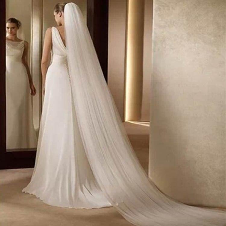 New Style Beautiful Veil Marriage Wedding Dress Korean Style Simple Bride Veil Double Layer 3 M Long Tailing Veil Soft Veil