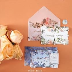 1set card gift Envelope letter Flowers Sulfuric acid paper greeting Name Stamping Paper Mini Envelopes diy romance