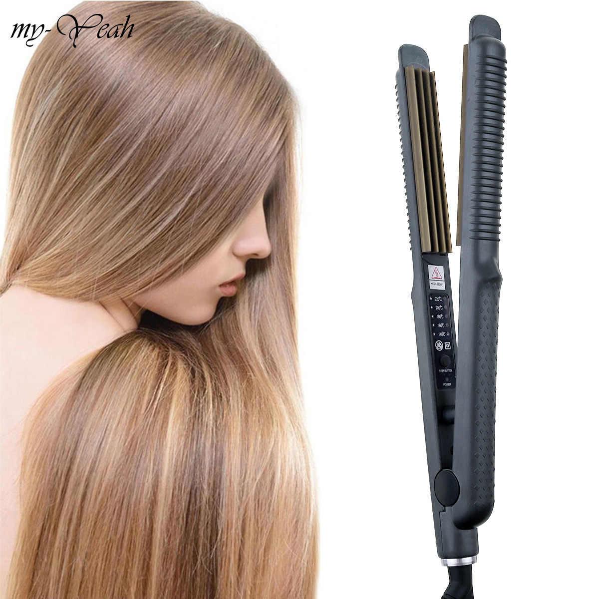أسود الكهربائية الشعر المموج بكرة الشعر المكشكش رقيق الشباك فرد مصفف شعر المزاج التحكم أدوات التصميم