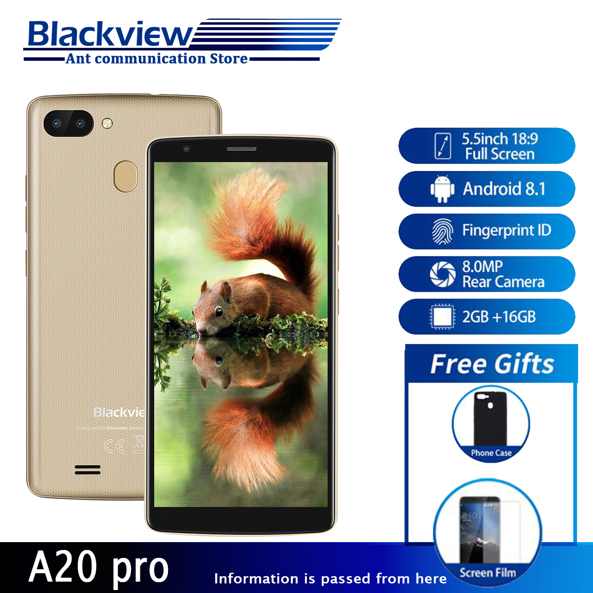 Новый смартфон Blackview A20 18:9 5,5 дюймовый экран Android Go двойная камера 1 Гб + 8 Гб 3000 мАч аккумулятор 3g мобильный телефон MT6739WAL