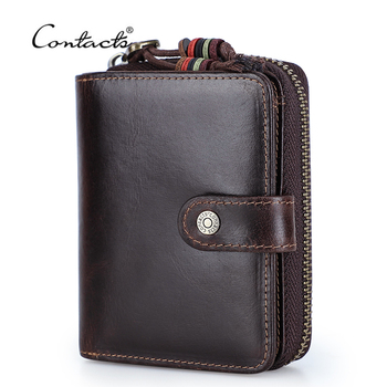 CONTACT'S Rfid Men Wallets Short Male Purse Card Holder Wallet Genuine Leather Bifold Money Bag Coin Pocket Zipper High Quality vintage rfid wallets 100% genuine leather men short wallet for cards male coin purse card holder pocket double zipper design