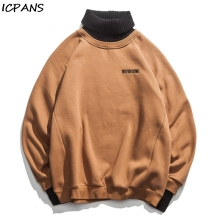 ICPANS Western Style Turtleneck Pullovers Men Letter Embroidery Sweaters Winter High Street Male Casual Fashion Sweater