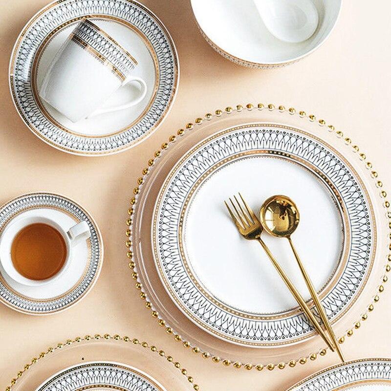 В стиле ретро высокого Класс отслеживания золото краями Керамика посуда набор риса Лапша миска ложка стейк тарелку вечерние столовые приборы|Блюдца и тарелки| | АлиЭкспресс