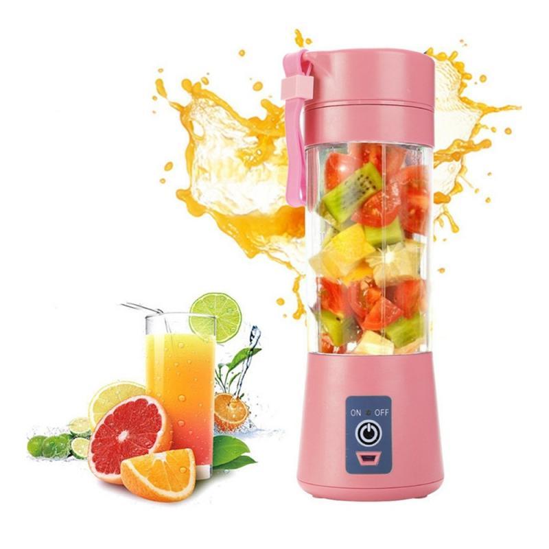 4 farben, Gemüse, Obst Saft Citrus Smoothie Squeezer 380ml USB Aufladen 6 Klingen Tragbare Mixer Mixer Küche Zubehör