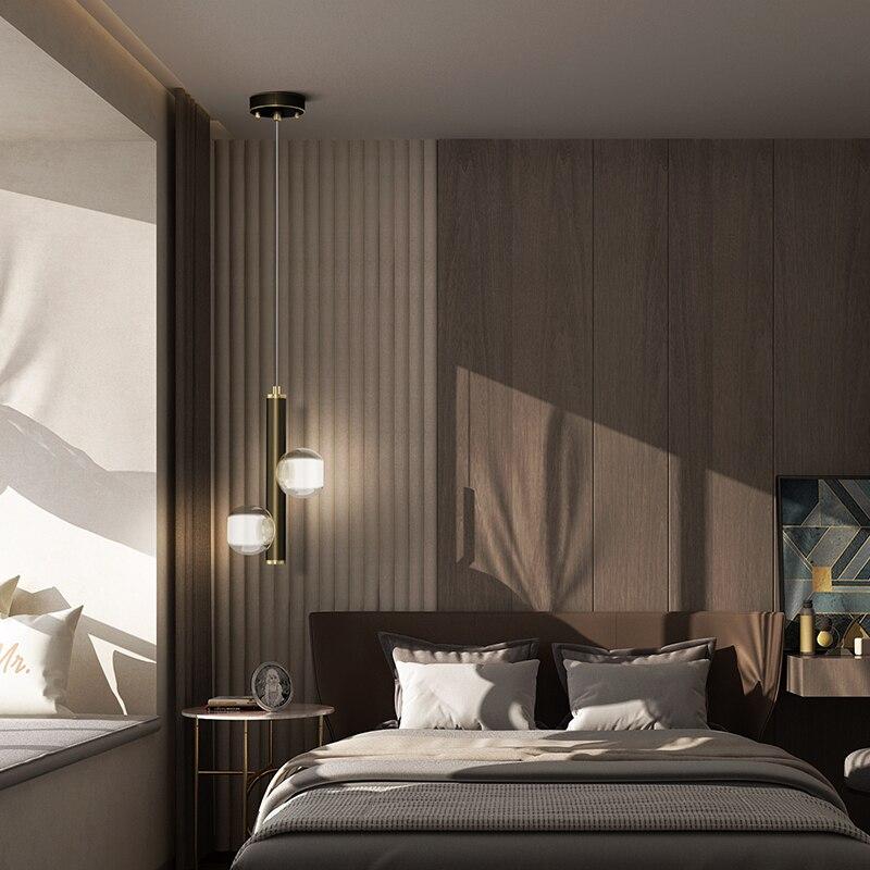Lampe de chevet nordique pendentif Led 2 têtes noir cuivre cristal suspension pour chambre salon décoration intérieure luminaires